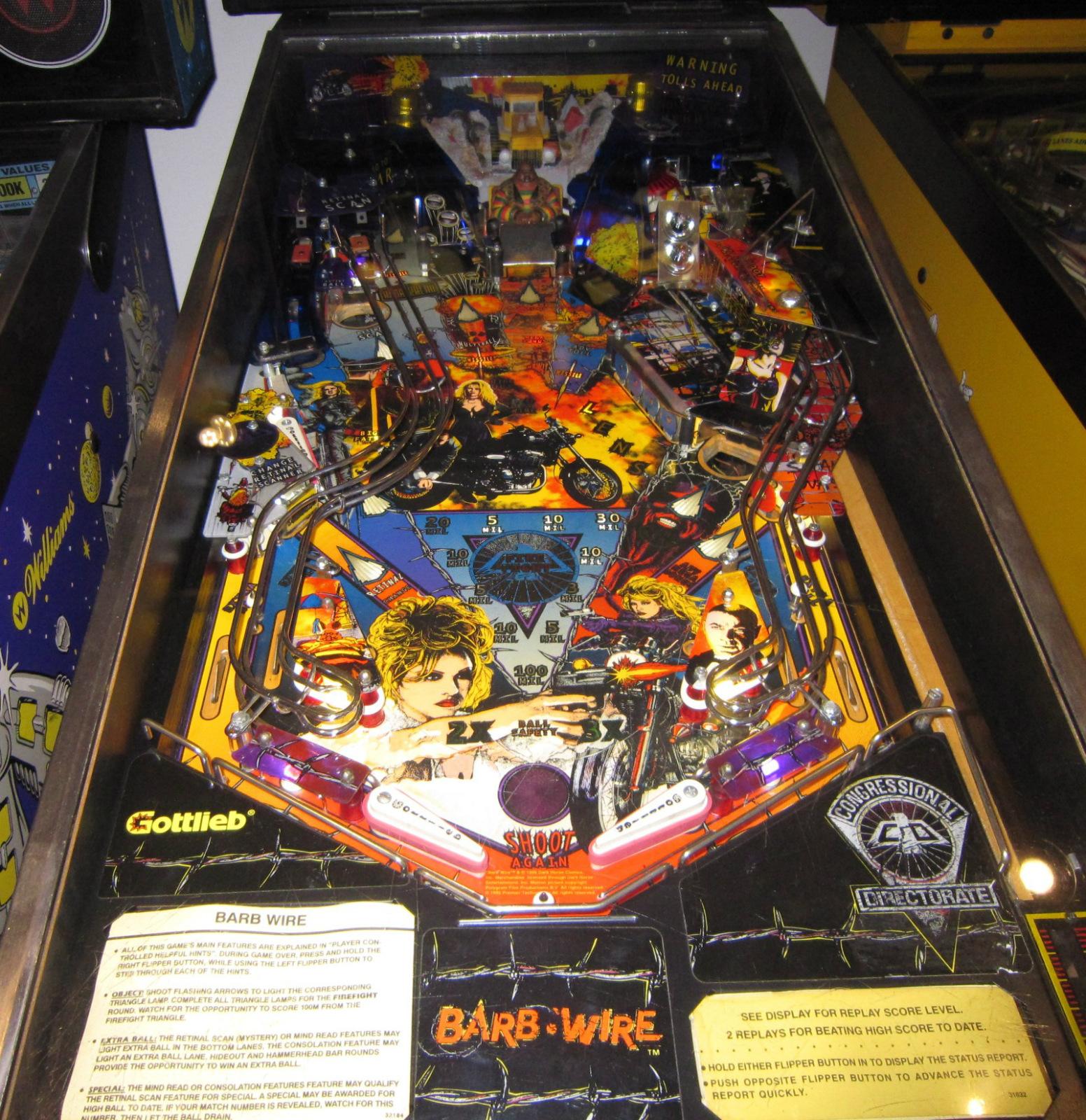 barb wire pinball machine w